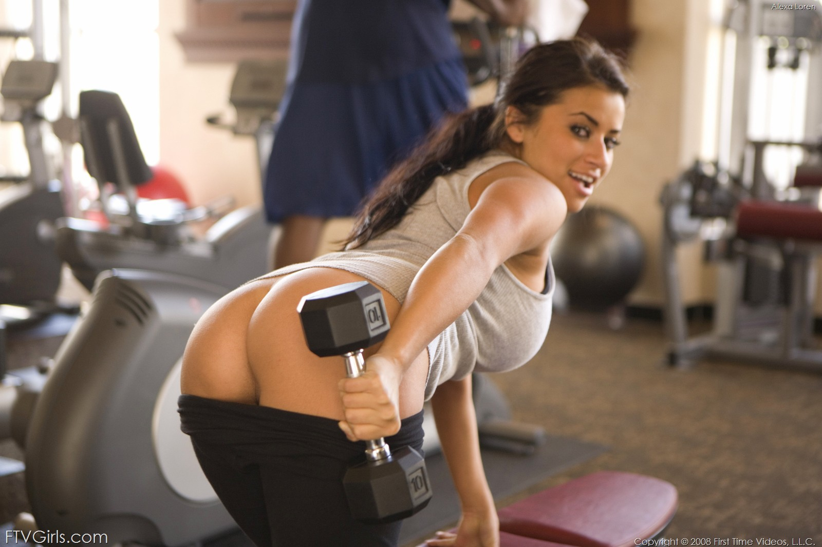 Boobs come out at the gym