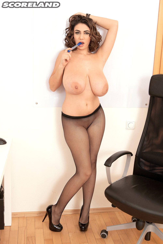 Big boobs hot office
