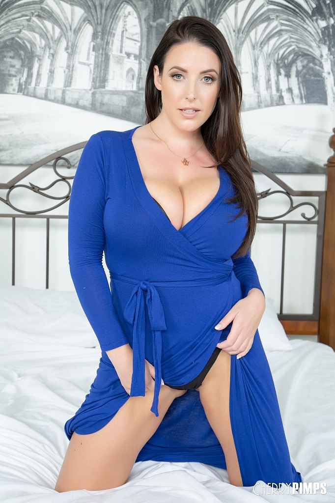 ... Angela White Blue Dress Bedroom Boobs