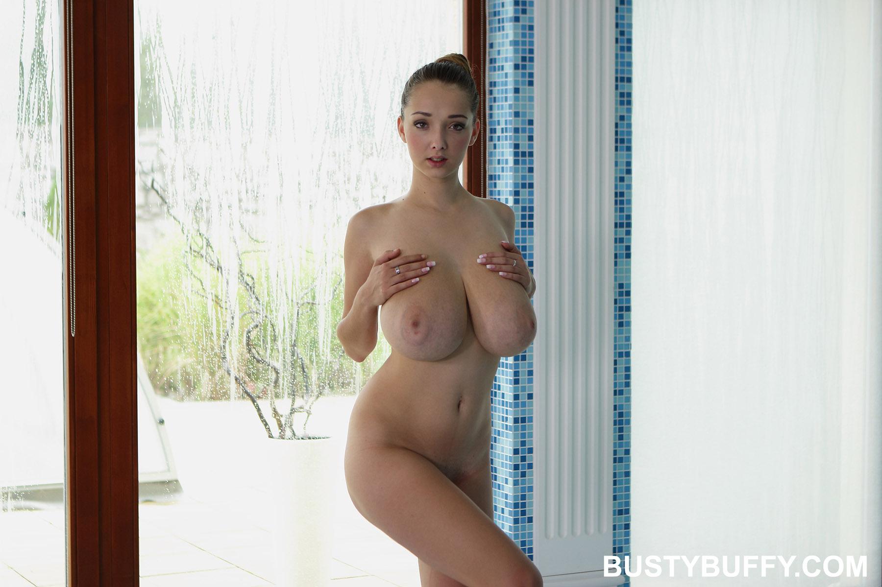 Busty brunette blowjob huge