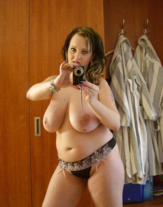 amateur chubby brunette showing her big tits
