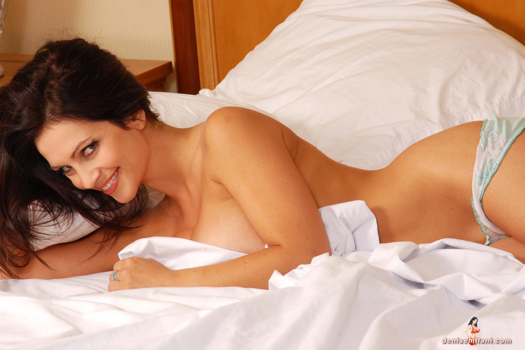 denise milani naked on bed