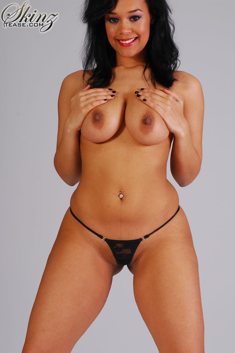 Ebony in g string nude