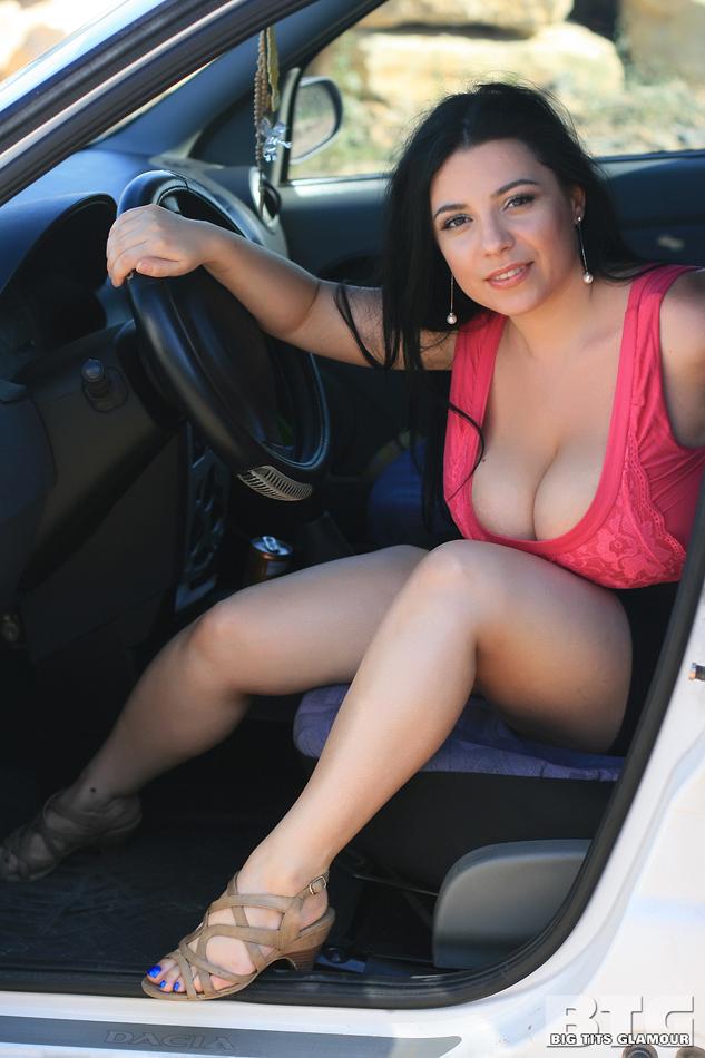 big boobs topless driving