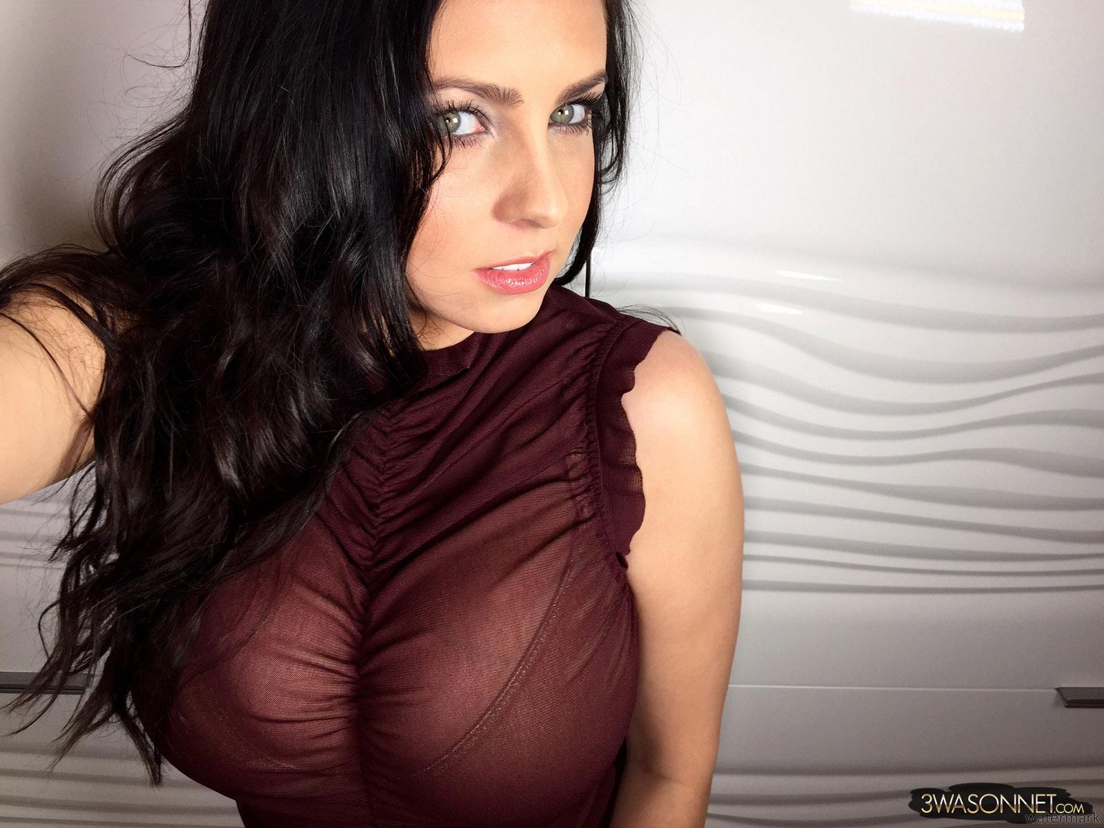 Huge brown tits see thru selfie