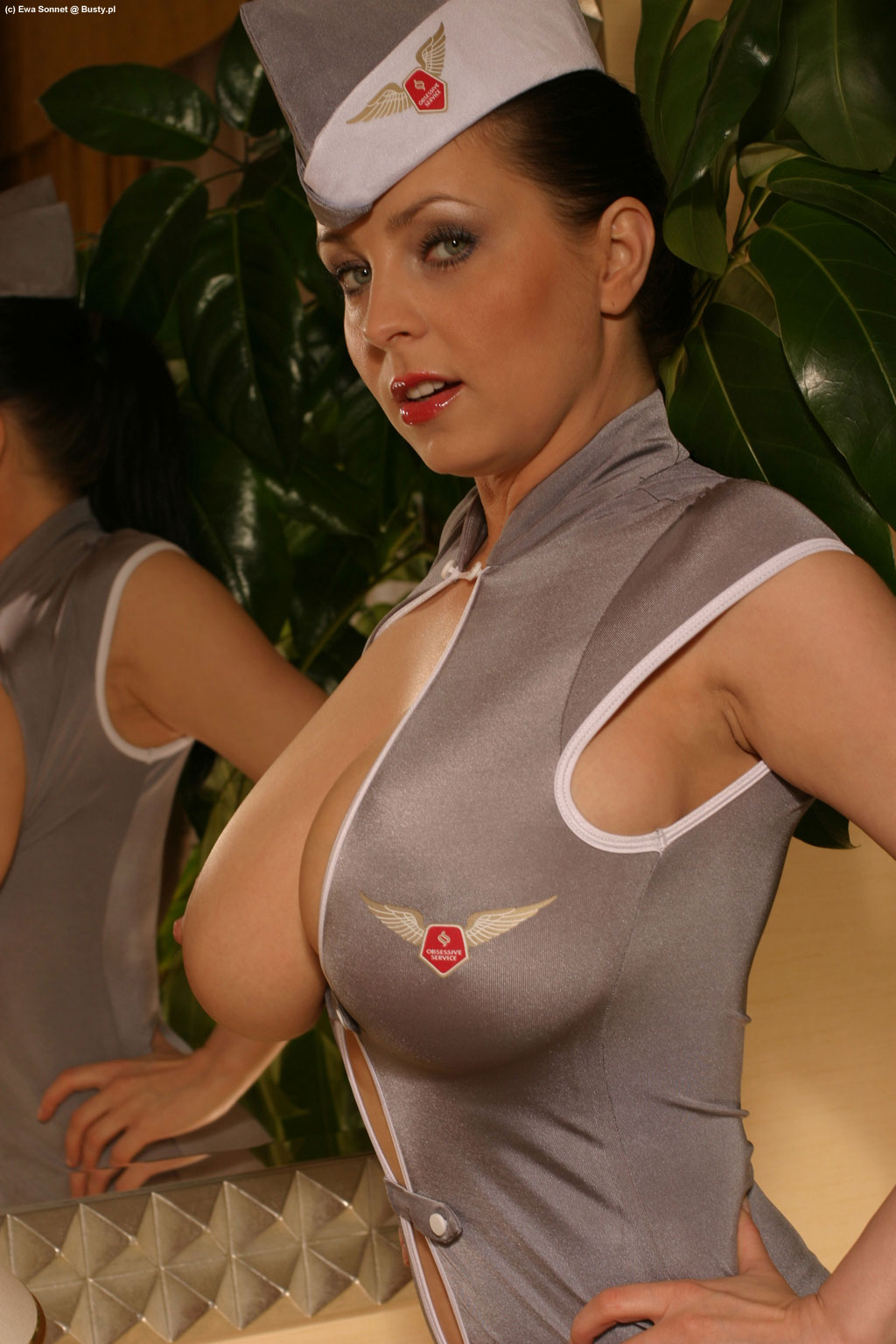Busty stewardess big titties