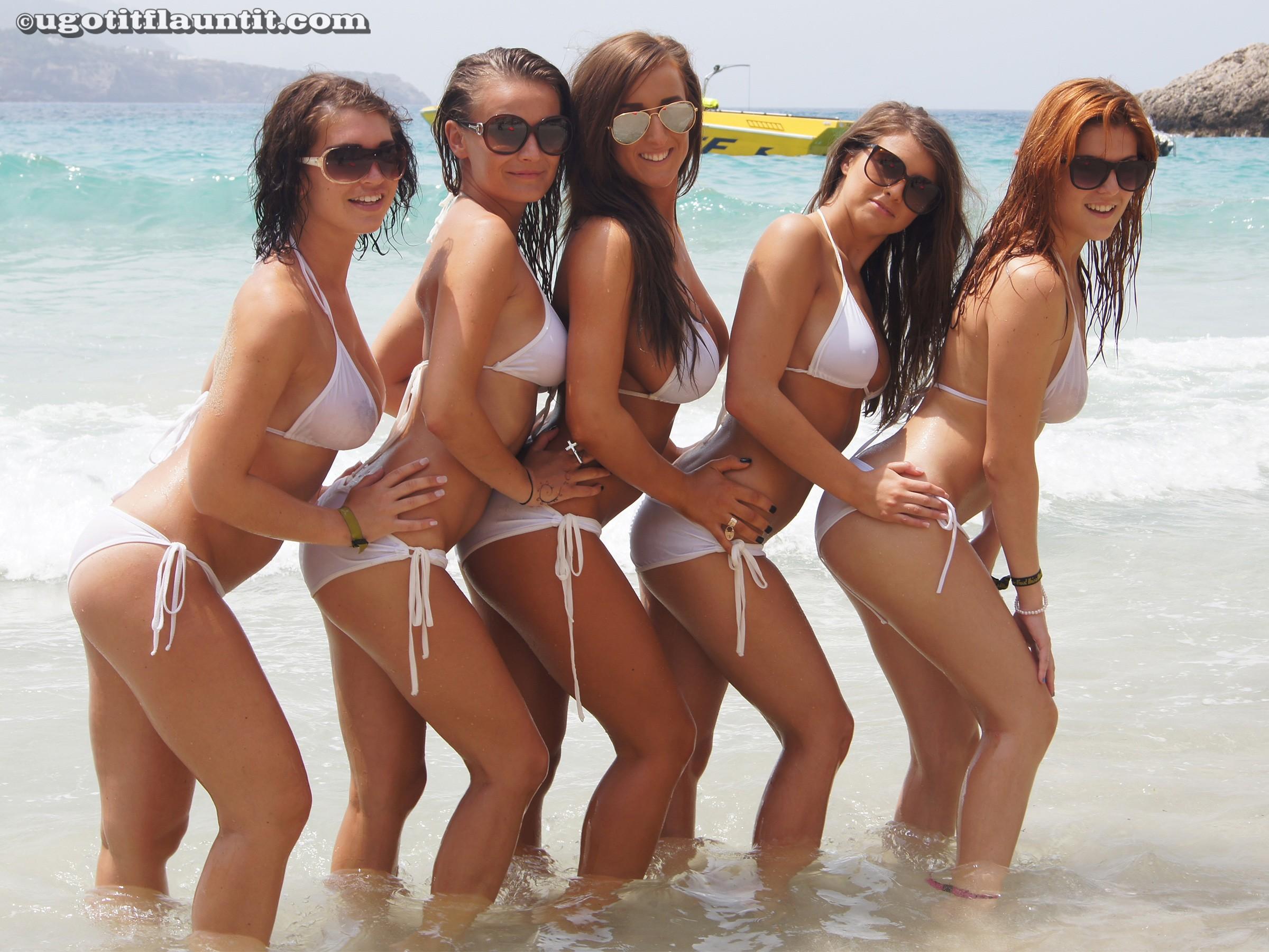 five busty beach babes