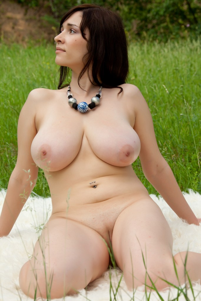 Chubby shaved pussy big natural tits